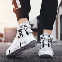 男鞋秋季高帮鞋子男休闲高邦白色运动板鞋嘻哈韩版潮流百搭潮鞋