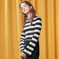 【年前最后狂欢,3件2.2折到手价:37.18】美特斯邦威半高圆领套头毛衣女冬款个性时尚条纹修身百搭打底毛衫