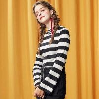【1件3折到手价:50.7】美特斯邦威半高圆领套头毛衣女冬款个性时尚条纹修身百搭打底毛衫
