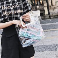 夏天小包包女2018新款少女小挎包菱格链条包果冻透明包单肩斜挎包
