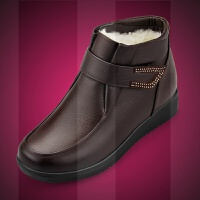 妈妈鞋冬棉鞋羊毛短靴子加绒保暖平底中老年老人真皮鞋女软底防滑SN3296