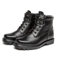 棉靴男士棉鞋冬季加绒爸爸鞋加大码46保暖高帮雪地靴真皮 黑色 YI3513加绒保暖