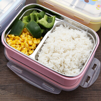 304不锈钢分格保温饭盒小学生长方形便当盒微波炉儿童可爱餐盒1层