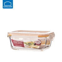 乐扣乐扣耐热玻璃饭盒保鲜盒便当盒密封碗大容量微波炉烤箱可用 380ml【长方形】