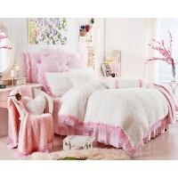 春秋季保暖床上用品珊瑚绒纯色加厚韩版公主风法兰绒绒毛四件套