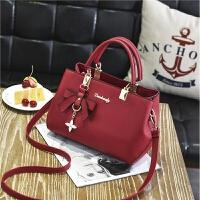 休闲女士包包个性时尚手提包女韩版简约百搭斜跨女包包潮 酒红色