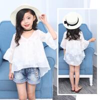 女童夏装雪纺衫新款儿童白色打底衫中大童时尚薄款清凉衣服潮