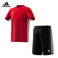 【部分商品每满400减50元】Adidas阿迪达斯童装男大童套装运动短袖T恤短裤两件套AJ5434上衣+AJ5285短