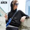 Aiken爱肯2018春季新品纯色卫衣男连帽宽松韩版学生运动保暖外套