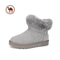 骆驼牌雪地靴女 皮毛一体短筒2018新款加厚加毛防水防滑女鞋