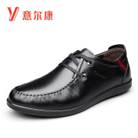 意尔康男鞋商务休闲牛皮革时尚系带鞋子男潮男士休闲鞋皮鞋平底鞋