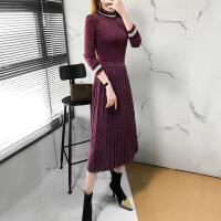 针织连衣裙春装2019款女名媛小香风毛衣裙子两件套装春秋气质长裙 酒红色
