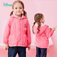 迪士尼Disney童装女童连帽外套春季新款宝宝防风外出服甜美公主印花上衣183S990