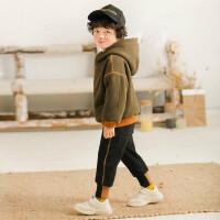 男童冬装2018新款卫衣套装冬季童装儿童加厚加绒连帽两件套韩版潮