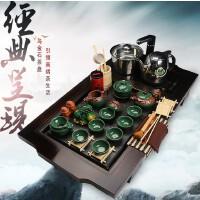 整套实木乌金石茶具茶盘套装电磁炉四合一冰裂功夫陶瓷茶具7ep