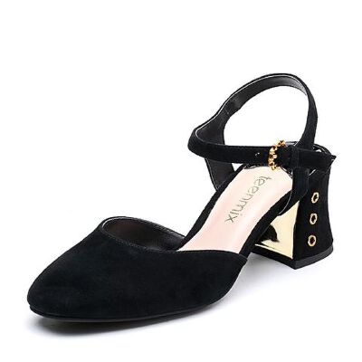 Teenmix/天美意2018春专柜同款羊绒皮通勤风粗跟女凉鞋CDF34AH8