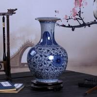 【优选】景德镇陶瓷器 手绘釉下彩仿古官窑裂纹釉青花瓷花瓶客厅中式摆件