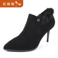 【领�幌碌チ⒓�120】金粉世家 红蜻蜓旗下 秋冬新款短靴羊皮女靴尖头细跟裸靴