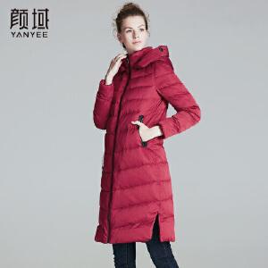 颜域品牌女装2017冬季新款休闲立领连帽减龄中长款羽绒服棉衣外套