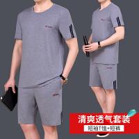 新款短袖短裤运动套装男户外跑步服运动服大码休闲运动衣男薄款