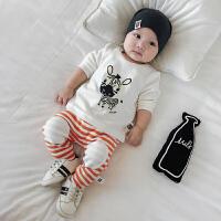 婴儿套装春秋季0一1岁新生儿纯棉衣服男女宝宝条纹长袖两件套