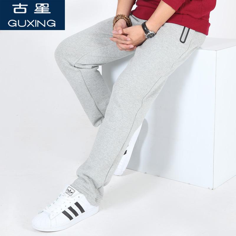 春季新款男士运动裤休闲宽松大码直筒裤拉链口袋跑步篮球棉长裤子口袋拉链 大容量