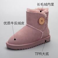 儿童雪地棉靴真皮2018冬季新款冬鞋加绒女童短靴韩版宝宝中筒靴子