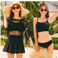 分体泳衣女时尚三件套黑色丝性感罩衫温泉泳装保守学生显瘦遮肚蕾