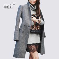 【新年狂欢到手价:294.8】魅斑2019冬装新款英伦格子时尚羊毛大衣双排扣修身中长款毛呢外套