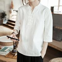 纯色7七分袖T恤男加大码宽松白色体恤夏季亚麻中国风衣服 白色 208