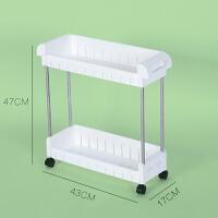 不锈钢带轮移动卫生间浴室置物架落地塑料收纳层架厨房夹缝整理架