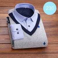 保暖衬衫男假两件加绒加厚中老年针织加棉寸爸爸冬季男式保暖衬衣