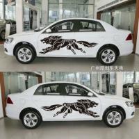 动物狼全车贴个性 西北狼图腾拉花机盖狼贴汽车全车拉花汽车贴纸 进口反光材料全套白色送机盖