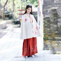 汉风华裳改良汉服女装刺绣白色连帽短款加厚斗蓬秋冬外套披肩套装
