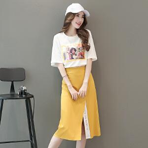 俏皮套装裙女2018夏装新款时髦T恤搭配半身裙子收腰显瘦两件套裙
