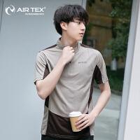 AIRTEX/亚特登山跑步健身运动透气速干男式立领T恤男款