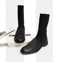 秋冬新款原创欧美复古英伦马丁靴女平底弹力袜子鞋中筒靴真皮短靴SN7022