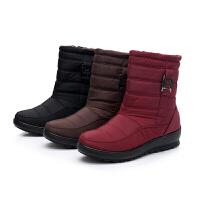 加绒雪地靴防滑中筒靴加厚防水保暖韩版百搭棉靴平底妈妈鞋棉鞋冬软底