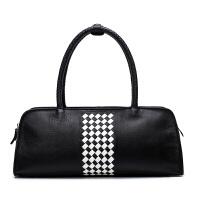 女包2017新款包包女波士顿包女士手提包韩版时尚百搭斜挎包枕头包SN7922 黑色