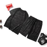 迷彩T恤套装男短袖短裤两件套韩版潮薄款学生套装运动休闲长裤装