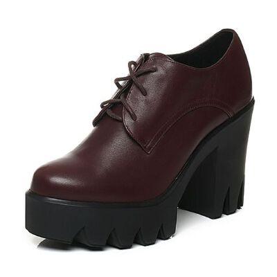 Tata/他她秋牛皮时尚通勤系带高跟女皮鞋FB222CM6