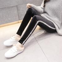 女士打底裤外穿女2018春秋装新款长款显瘦薄款高腰拼接丝绒裤子潮