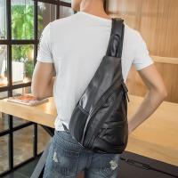个性男士潮流皮质小挎包 新款时尚街头百搭胸包 户外大容量单肩包