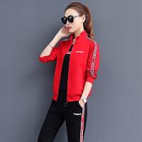 运动套装女春秋三件套时尚大码跑步运动服韩版显瘦宽松休闲套装长袖棒球服