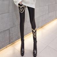 pu皮裤女士2018春季新款时尚刺绣高腰加绒秋冬款长款外穿打底裤