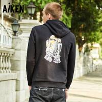 森马旗下Aiken星球大战IP系列机器人R2D2卡通卫衣简约圆领连帽套头卫衣
