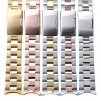 不锈钢表带手表钢带18 19 20 22mm男 女款表链 配件金色
