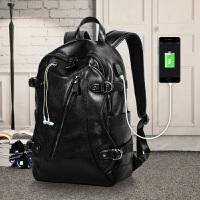 双肩包男韩版学生书包2018新款百搭休闲旅行包时尚潮流男士背包皮SN0510 黑色 (USB+耳机孔)