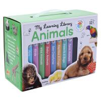 宝宝喜欢的小动物儿童英文原版绘本 My Learning Library Animals 8册纸板手掌书盒装 低幼宝宝启
