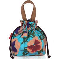 时尚民族风抽带小拎包女士提包饭盒包便当袋甜美印花帆布包水桶包